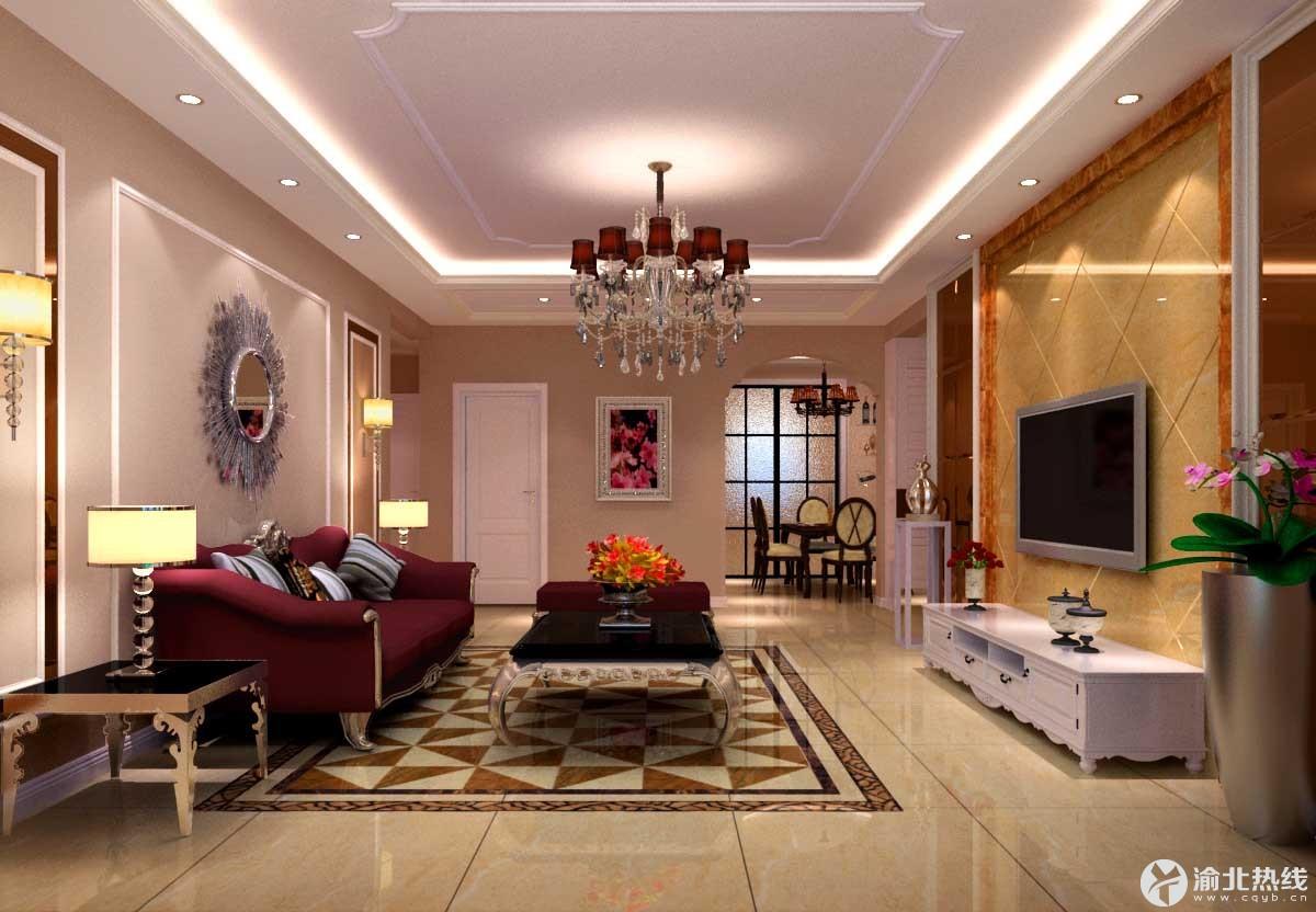 电视背景墙选用石材以提升整个客厅的色差对比性与